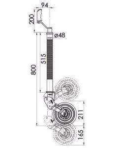 KJW4806 48mm Ribbed Auto Lift  jockey wheel