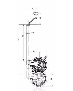 KJW43L  43 mm Turn-Lok  Jockey Wheel