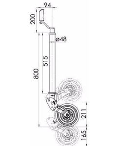 KJW4807 48mm Smooth Auto Lift Jockey Wheel